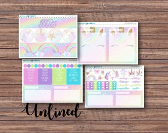 Party Unicorns Notes Page Kit | Erin Condren Planner Stickers | Horizontal & Vertical | Monthly Notes Page