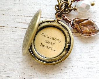 Courage, dear heart - C.S. Lewis - Quote Locket, Encouragement, Leaving Home, Faith Jewelry, Hope