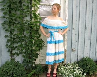 Vintage Off the Shoulder Spanish Crocheted Tiered Dress// Tea Length// Medium// Blue White// Summer// emmevielle
