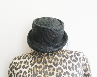 vintage 60 black straw hat with bow and veil