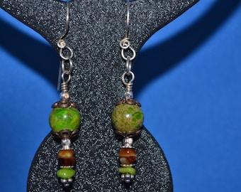 Handmade, Green Imperial Jasper, Tigers Eye, Silver Earrings, Dangle Earrings, Drop & Dangle Earrings, Semiprecious , Beaded Earrings,