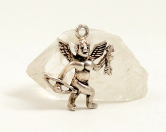 Vintage Sterling Silver Cupid with Bow and Arrow Charm Pendant