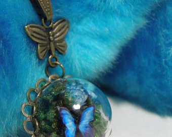 Butterfly Necklace, Glass Dome Mini Terrarium with Flowers, Moss and Butterfly Necklace, Blue, Butterfly, Glass Necklace