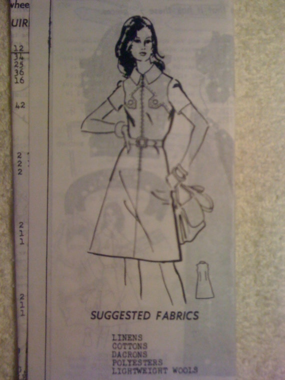 Parade Mail Order Sewing Pattern 1465 Vintage 70s Misses Dress Size 14