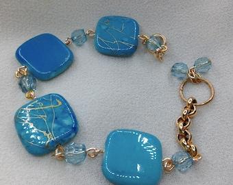 Blue turquoise synthetic square bracelet
