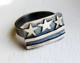 Washington DC Flag Ring in Sterling Silver