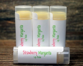 4 Strawberry Margarita Flavored Lip Balms, Maine Made, Handcrafted Lip Care, Wedding Favors,Bridal Favor, Shower Favors,Margarita Lip Butter