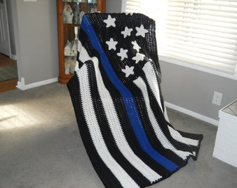 Thin Blue Line/Thin Red Line/Thin Red & Blue Line/Law EnforcementOfficer/LEO/Sheriff/Police/Firefighter/Paramedic/EMS Crocheted Flag Afghan