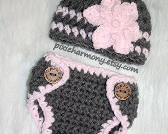 Baby Girl Diaper Cover and Hat w Flower Set - Soft Gray and Pink Newborn - ANY Colors - Photo Prop - Reborn Doll Clothes - Made to Order