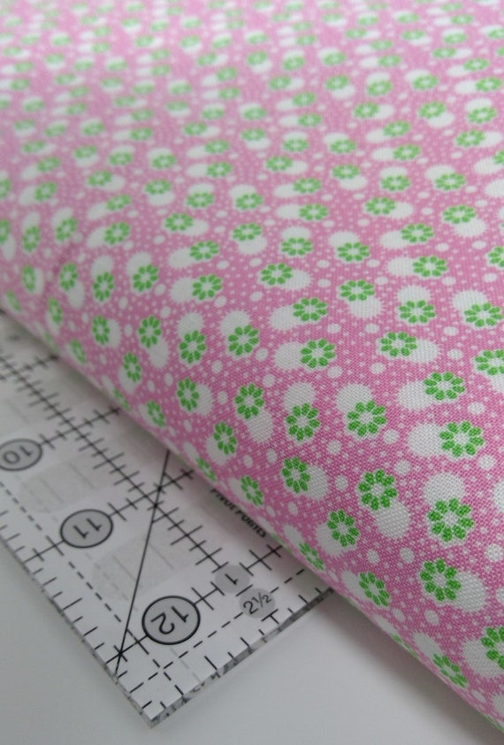 White Dots and Little Green Flowers On Pink, Toy Chest Florals From Washington Street Studio's For P&B Textiles, Fabric By The Yard 0417p