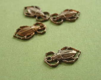 scarab charm, vintaj scarab charm, vintaj brass scarabs, 2 pieces, 11 x 18mm