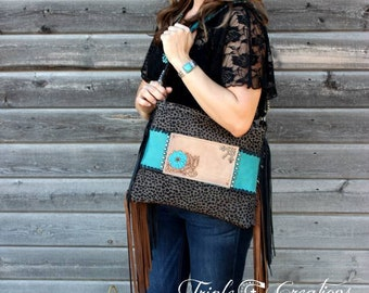 Grey Cheetah Cowhide Shoulder Bag - Hand Tooled Leather SALE