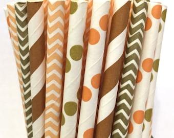 2.85 US Shipping -Fall Paper Straws- Chevron - Peach, Gold Straws - Cake Pop Sticks - Drinking Straws - Thanksgiving Straws