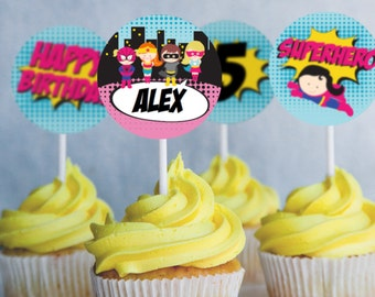 Girl Superhero Party Cupcake toppers - Superhero Editable - Instant Download- Edit at home with Adobe Reader