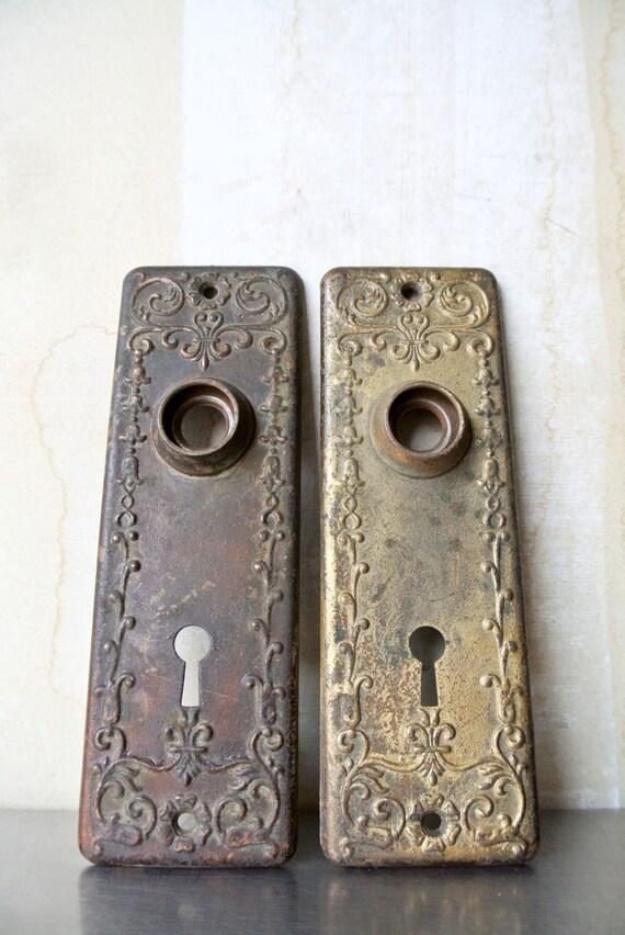 Pretty Antique Copper Door Knob Set - Victorian Door Knob Set ...