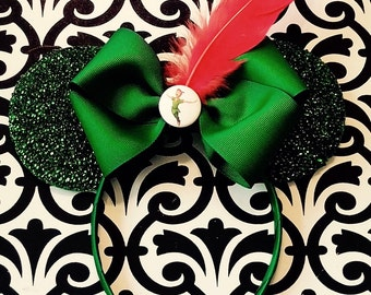 Peter Pan Green Sparkle Red Feather inspired Minnie Mouse Headband Ears