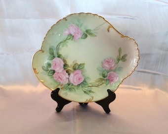 H&C France Limoges gold rim irregular shape pink rose serving platter