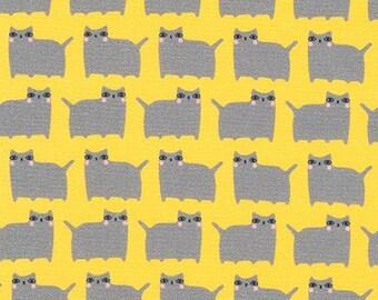 Yellow Cat - Suzy's Minis - Robert Kaufman cotton fabric - half yard or more