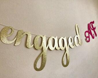 Engagement banner, Engagement party banner, Engaged AF banner, Engagement party decorations, Engaged banner, #engaged, Engaged Party Decor