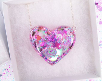 Valentines Day Holographic Iridescent Stars Heart Shaped Pendant Necklace Glitter Kawaii Kitsch Pastel Candy Rave Holographic Summer Charm