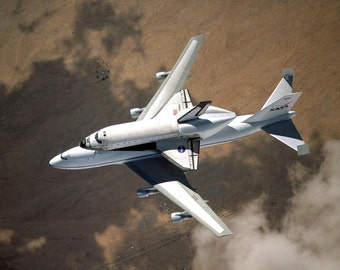 Space Shuttle Columbia on Carrier Aircraft to Kennedy Space Center - 5X7, 8X10 or 11X14 NASA Photo (EP-406)