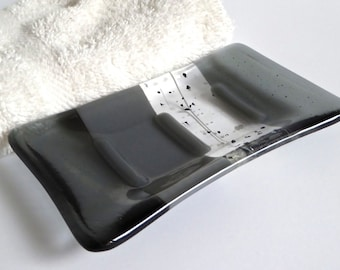 Gray and Silver Fused Glass Soap Dish by BPRDesigns
