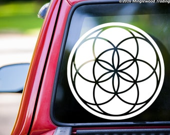"Seed of Life vinyl decal sticker 18"" x 18"" Geometric Flower Kaballah *Free Shipping*"