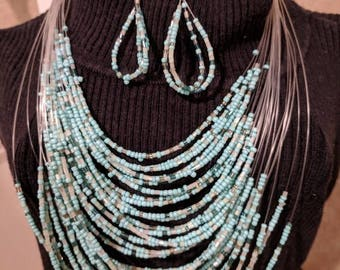 Multi Strànd Turquoise Seed Bead Necklace and Earring Set