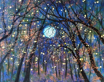 Giclee Canvas Print  Copper moon  and Fireflies Vadal - 20 x 16