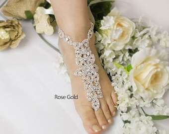 Wedding Rose Gold ,Silver Barefoot Sandals, Bridal Foot Jewelry, Rhinestone Foot Jewelry, Footless Sandal,Bridesmaid Foot Jewelry -SD 039