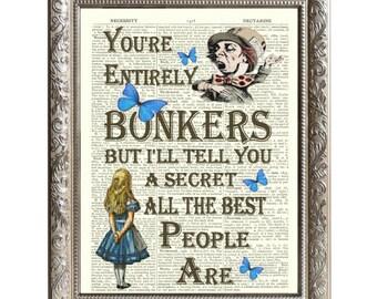 Vintage Art Print Alice in Wonderland Bonkers Brown Original Book Page -D-AIW-01-WW