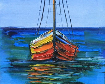 Boat Painting, Boat Art, Fishing Boat, Abstract Painting, Abstract Decor, Boats,Textured Art, Original Painting, Abstract Art, 8x10 Painting