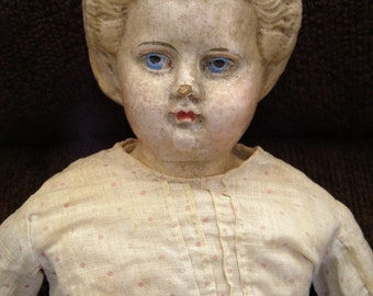 "Beautiful Antique Paper Mache Blonde Greiner #6 Doll 1858 with Label and Nice Old Outfit - 21"" Tall"