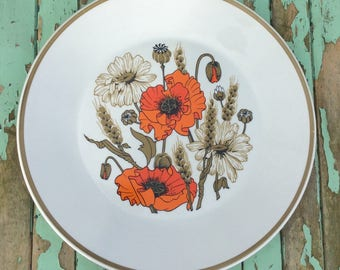 Meakin J & G Studio Vintage Poppy Design Dinner plates X Five 1970s Retro