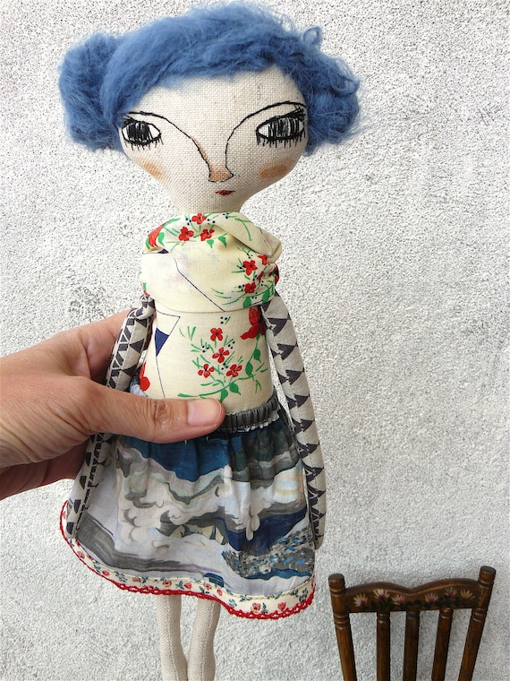Art doll in cotton and alpaca. Alpaca and silk hair. 32 cm.