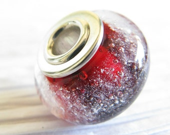 Pet ashes glass cremation bead. Essence. Cremain ashes in jewelry. Sterling silver caps. Memorial loss of pet.  16 colors. Heirloom