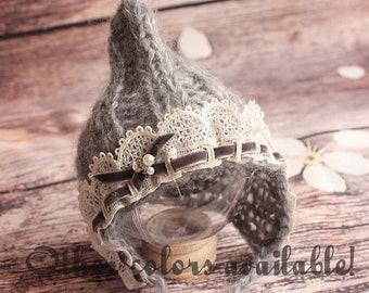 20%OFF* Newborn Elf Hat, Baby Girl Elf Hat, Newborn Photo Prop, Baby Photo Prop, Lace Elf Hat, Gray Elf Hat, Knit Elf Hat, Wool Elf Hat