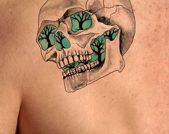 Temporary Tattoo-Glowing Skull Tattoo-Gifts for Men-Tattoo Sticker-Gifts for Women