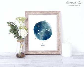 pisces print - watercolor constellation art print - pisces gift idea with color options - 8x10