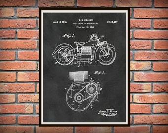 Patent 1943 Indian Motorcycle Shaft Drive Motorcycle - Poster - Wall Art - Bike - Motor Bike - Man Cave Art - Motorcycle Shop Wall Art