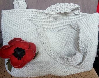 Cotton summer shopping bag. Beach gray bag. Red flower suede.