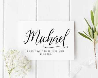 Personalised Card For Groom, I Can't Wait To Be Your Wife, Custom Groom Wedding Card, Can't Wait To Marry You, Groom Wedding Card, Mrs To Be