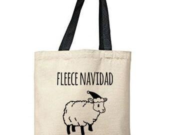 Fleece Navidad Bag, Natural Tote, Funny Tote Bag, Christmas Bag, Canvas Tote Bag
