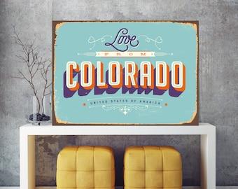 Love from Colorado, Colorado sign, City wall art, Colorado wall art, American city print, USA metal sign, City sign, USA wall art, Print Art
