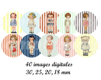 Digital collage sheet circles dolly dingle Digital images doll one inch circle digital bottle  caps, scrapbooking, instant download