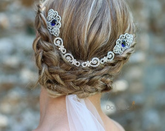 Blue Vintage Style Crystal Hair Comb, Bridal Headpiece, Wedding Hair Comb,  Bridal Back  Headpiece, Art Deco hair comb, UK