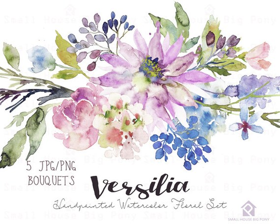Watercolour Flower Clip Art Collection - Hand Painted Graphics,  purple flower,  hand drawn clip art,  flower clip art - Versilia