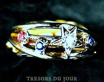 Unique Engagement RING 'Etoile' Diamond Star Engagement Ring Pink Blue Sapphire Engagement Ring Conflict Free Shooting Star Ring Custom Ring