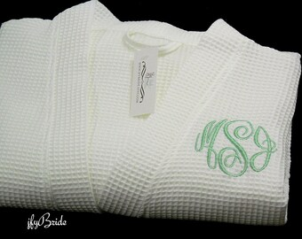 Monogrammed Robe, Waffle Spa Robe, Personalized Robe, Monogram Bathrobe, Cotton Anniversary Gift for her, Second Anniversary, 1707 MC