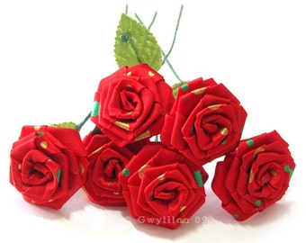 Multi Polkie Dot Red Rose Bouquet